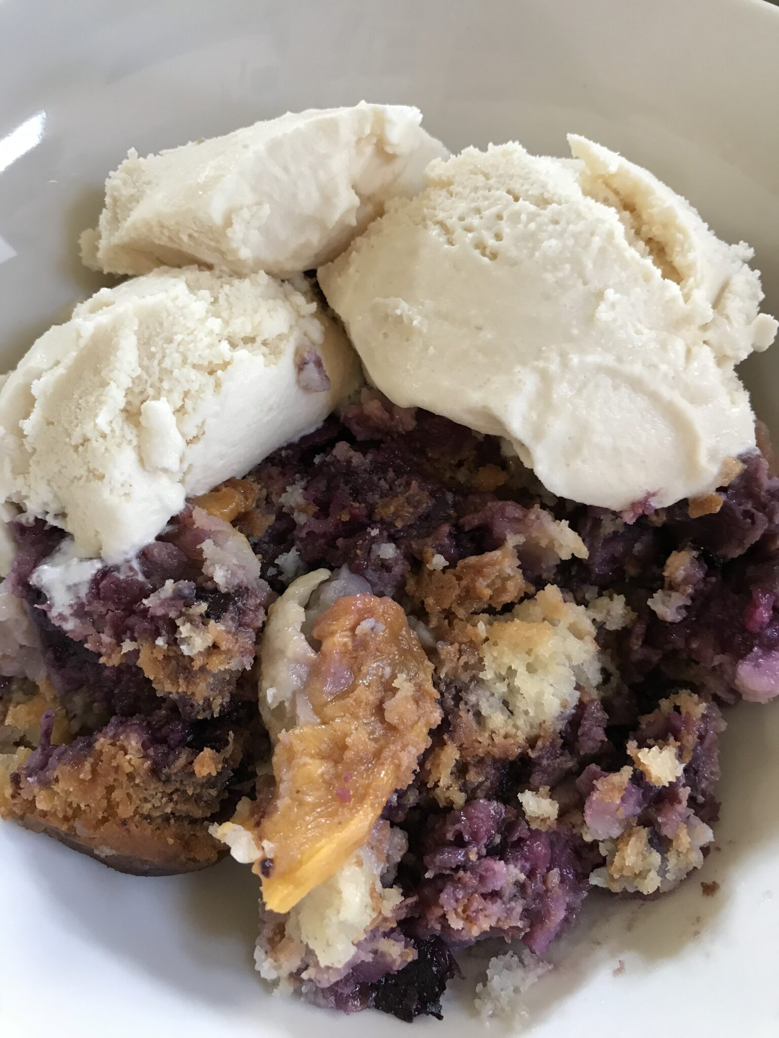 Life Is Short So Let's Make Dessert – Peach & Blueberry Cobbler And Vanilla Ice Cream