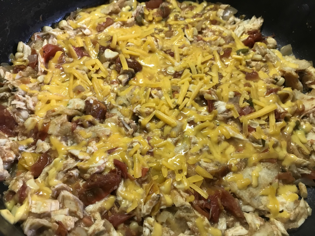 Easy Cheesy Skillet Enchilada With or Without Chicken